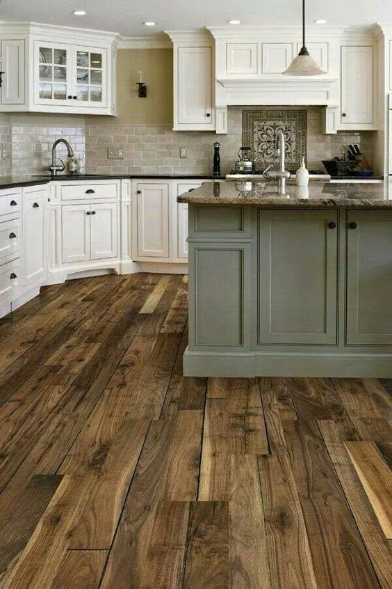 Love the floors and combo with the white cabinets, although i would go a bit more rustic with destroyed off white cabinets.