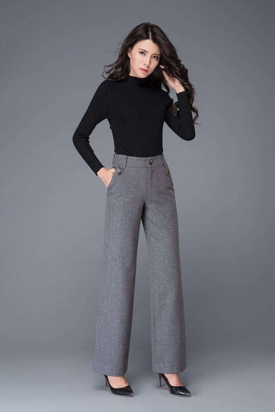 Gray wool pants, High waisted pants, maxi pants, wool pants, wide leg pants, womens pants, formal pa