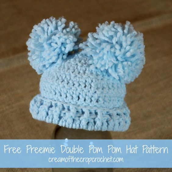 Free Crochet Pattern Baby Pom Pom Hat : Cream Of The Crop Crochet ~ Preemie Double Pom Pom Hat ...