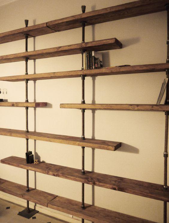 Librer a a medida en hierro y madera reciclada dise o - Estanterias de hierro ...