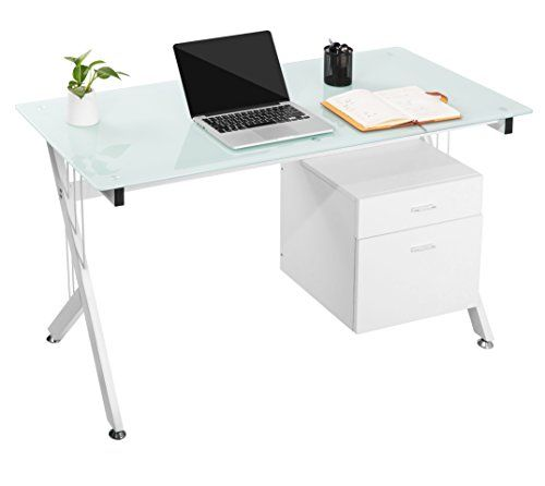 Modern Luxe Home Office Computer Desk Table With Glass Top Storage Drawers White Home Office Computer Desk Storage Drawers Computer Desk