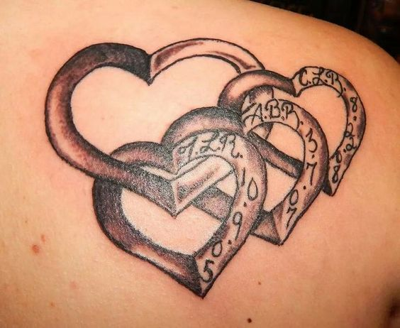 Main heart with hearts of your children hanging off of for Your name is tattooed on my heart
