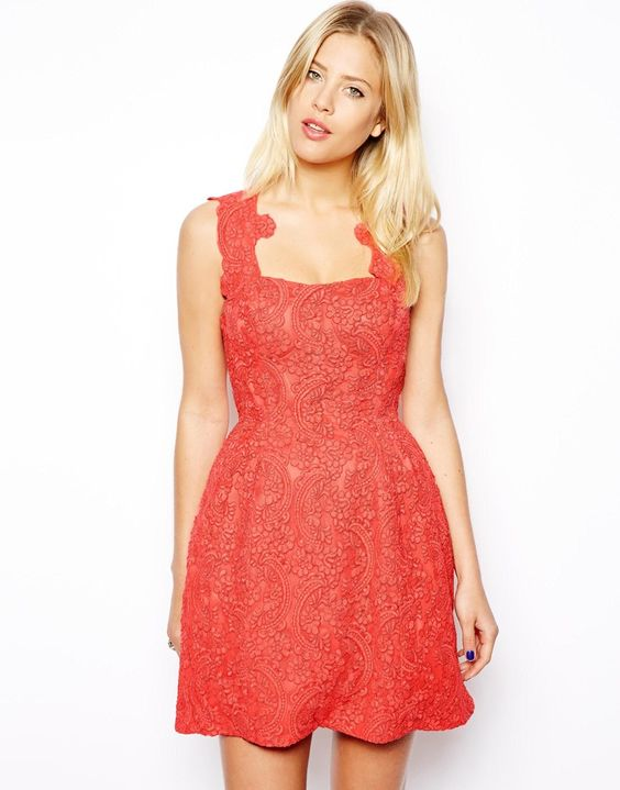ASOS Structured Lace Prom Dress