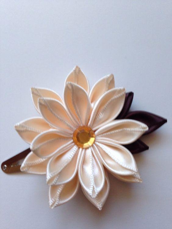 Beige fabric flower hair clip