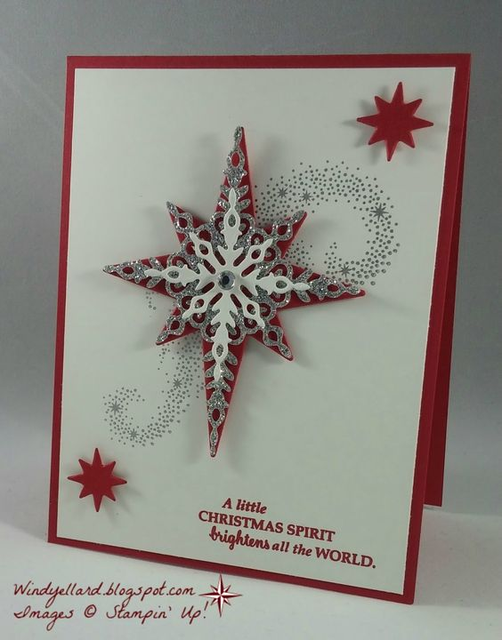 Stamp set: Star of Light Ink: Real Red, Silver Encore (retired) Paper: Silver glimmer paper, Whisper White, Real Red Starlight thinlits dies, rhinestone