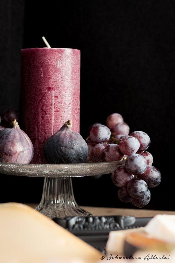 Herbstliche Deko, Kerze mit Obst