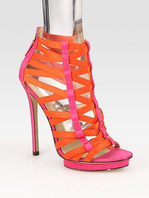 B Brian Atwood- Clio Satin Colorblock Cage Platform Sandals