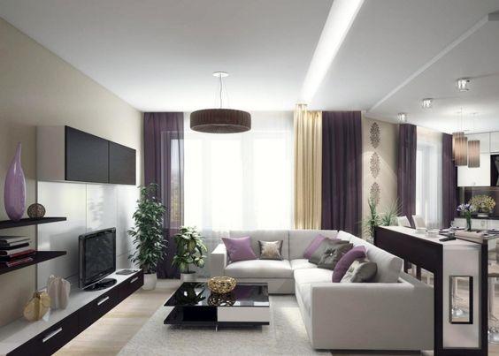 creme Wandfarbe, schwarz weiße Möbel und lila Akzente Wohnzimmer - wohnzimmer violett braun