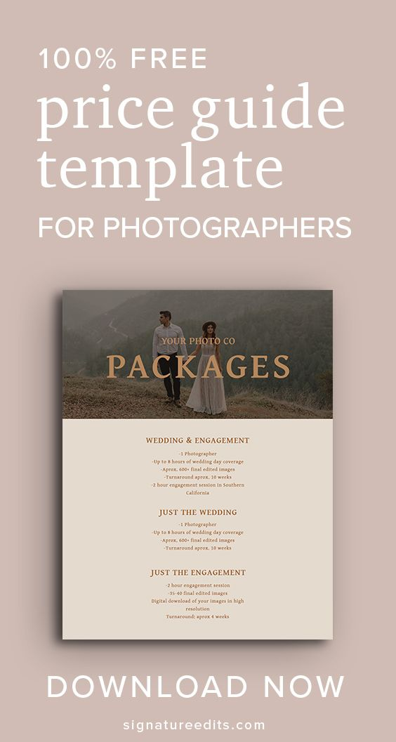 100 Free Photography Packages Pricing Template Photography Price List Template Pricing Guide Photography Photography Price List