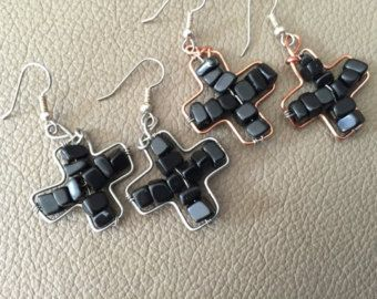 free formed, Blackstone, gemstone cross, wide cross, faith, inspirational, silver wire cross, copper wire cross, surgical, stainless steel