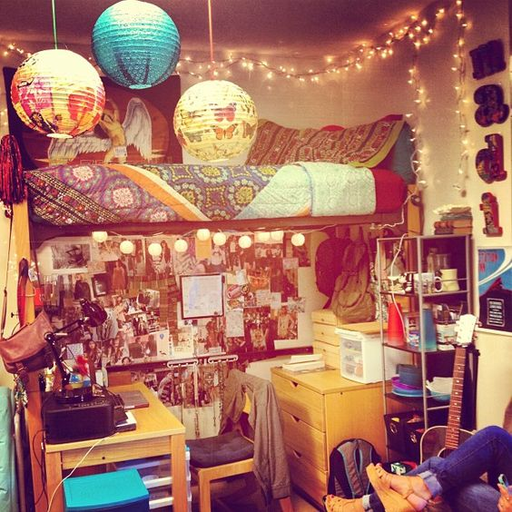 Anthropologie College Bedroom    #lights #anthro #lanterns #boho #college #dorm #urban #pattern