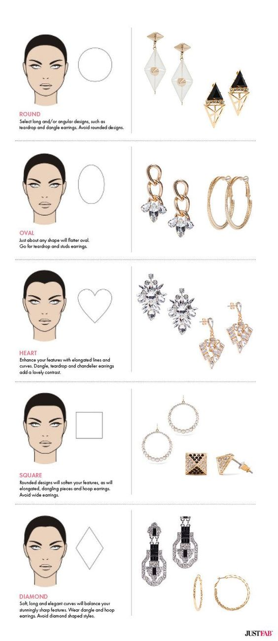 Choose earrings that work best with your face shape. | 41 Insanely Helpful Style Charts Every Woman Needs Right Now: