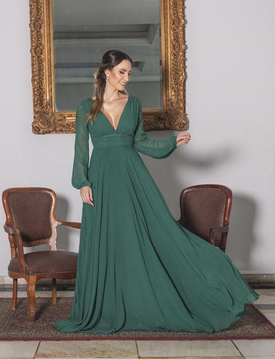 vestidos longos com manga bem feito