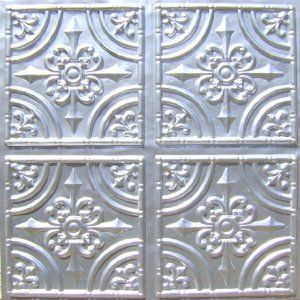 Cheape decorative plastic ceiling tile 205 silver tin ul rated can be glue on any - Silver tin backsplash tiles ...