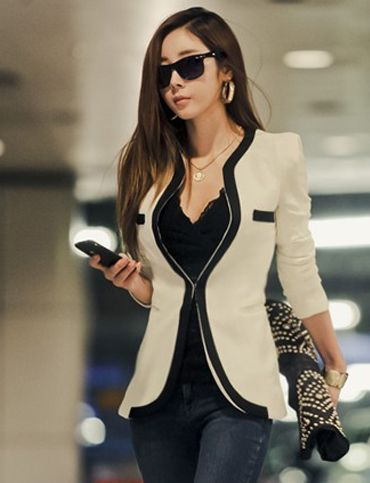 Korean Style Contrast Trim Mock Pocket Slim-Fit Blazer For Women ...