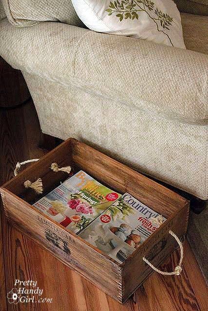 Reciclando caixotes de madeira.