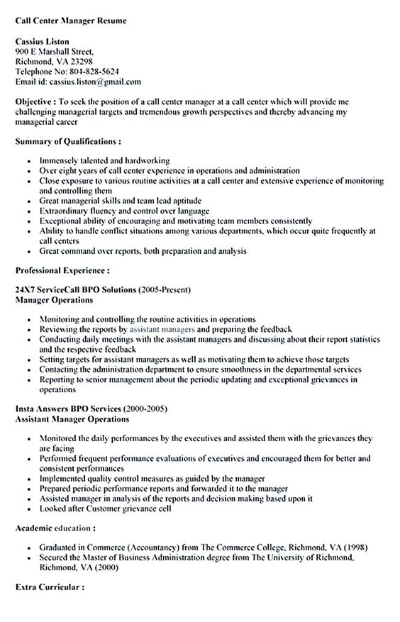 Call Center Resume Objective Call Center Resume For Professional