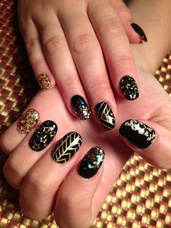 Gold bling on black gel