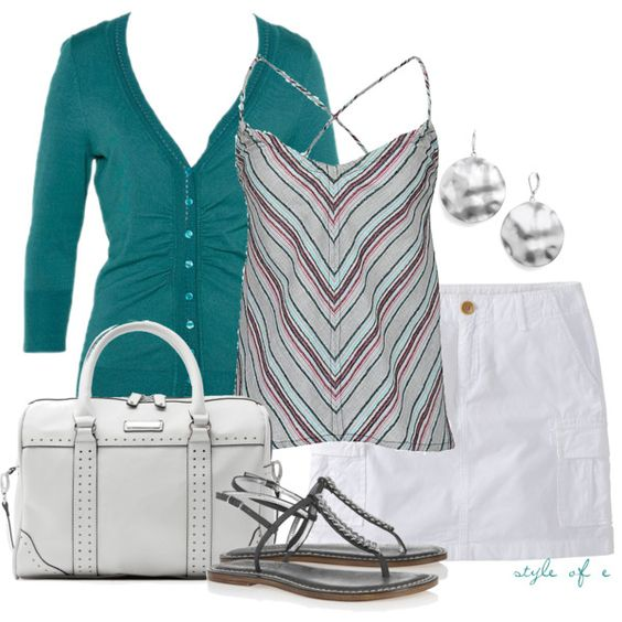 Striped Tank, created by styleofe on Polyvore