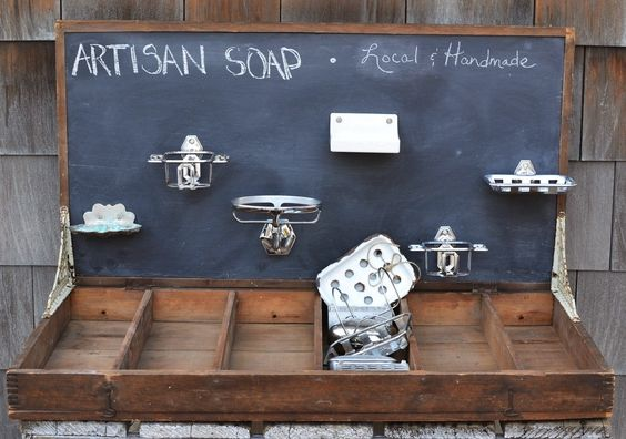 Unique soap display - not sure about using chalk (dust on soaps) but I love the idea that i  could put my show specials, etc up there and change things up easily at every show.