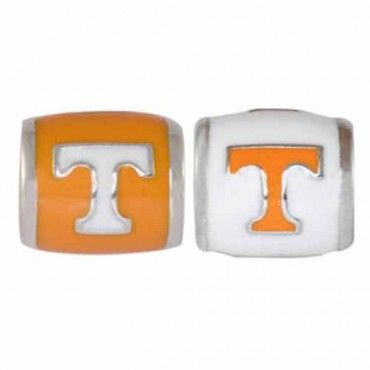 """Teagan Collegiate Collection Bead: University of Tennessee Combo set. This bundle contains two University of Tennessee Beads:     UT1 White T on Orange Bead     UT2 Orange T on White Bead  Beads are 925 Silver and Enamel. These are """"Teagan"""" beads and they are compatible with Pandora, Biagi, Zable, Brighton, Troll and many other European style bracelets."""