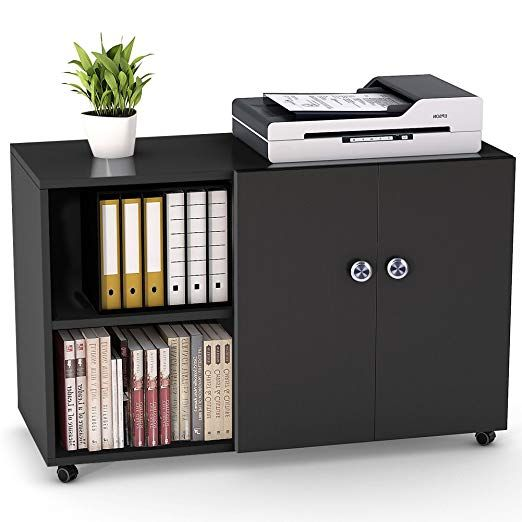Amazon Com File Cabinet Little Tree 39 Mobile Lateral Filing Office Cabinet Large Printer Stand With Wheel Home Office Storage Filing Cabinet Printer Stand