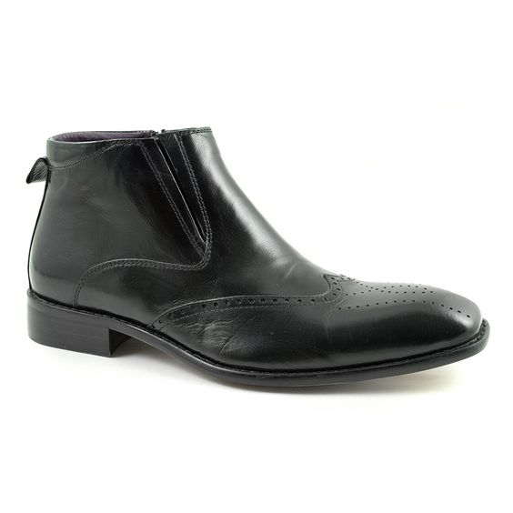 Cool mens black brogue boots crafted in leather. These zip up mens ...