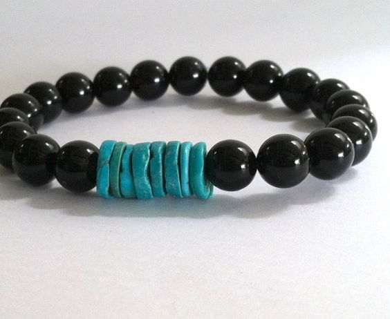 Beautiful Smooth Round Black Onyx Stone Beads with 8 Natural Turquoise Heishi Beads Beaded Bracelet via Etsy