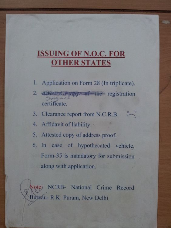 application for noc certificate