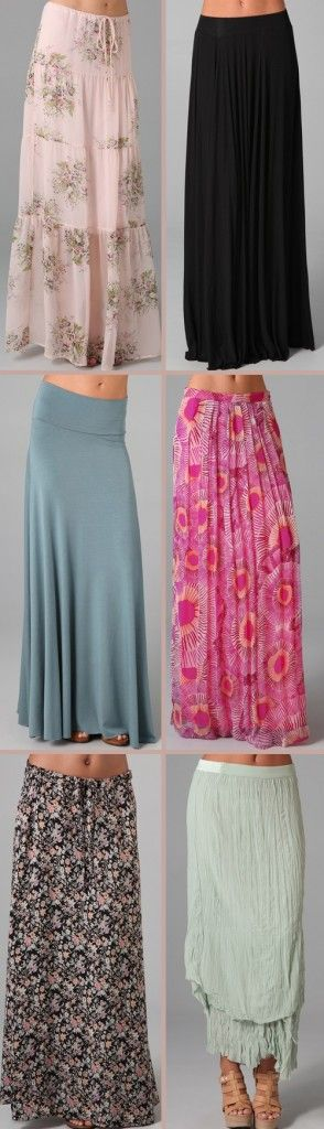"""Sewing inspiration: maxi skirts.... I have always loved maxi skirts or dresses (I am only 5'1/2"""") So happy they are BACK"""