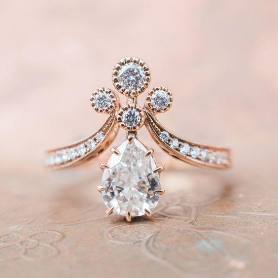 Vintage-Inspired Rose Gold Victorian Era Engagement Ring | Rose Gold Tiara