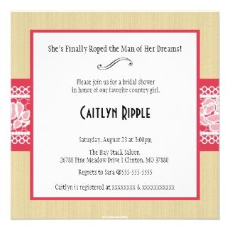 handmade country western bridal shower invitation | Country And ...