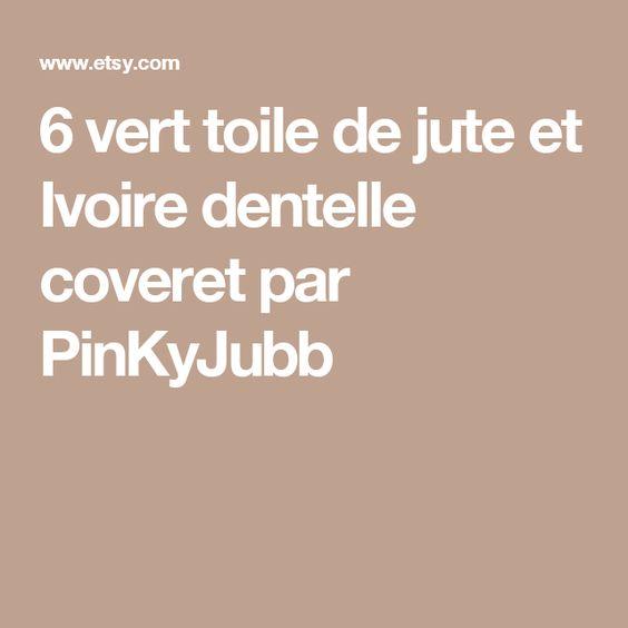 6 vert toile de jute et Ivoire dentelle coveret par PinKyJubb