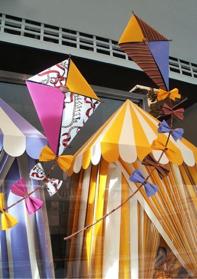 (Beach scene 2 of 3) These multi-color kites are a pretty detail—Christian Louboutin window display—artist, Zoe Bradley Design❣