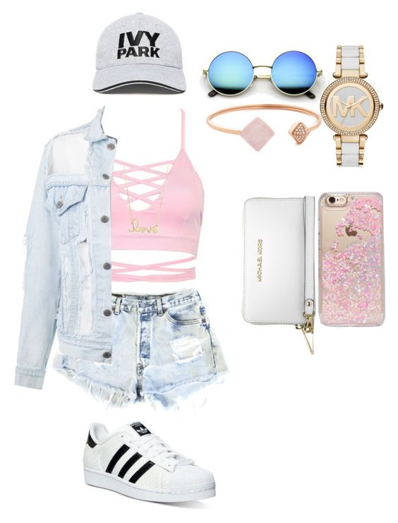 """Summer Outfit #1"" by tieraali ❤ liked on Polyvore featuring Levi's, Sydney Evan, adidas, Michael Kors, Ivy Park, Skinnydip and MICHAEL Michael Kors"