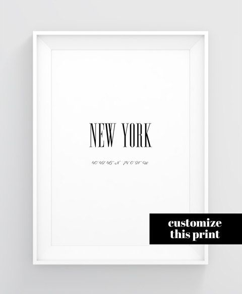 Longitude And Latitude Sign City Wall Art Printable Personalized City Signs New York City Poster Coordinate Coordinates Signs City Wall Art Custom Wall Art