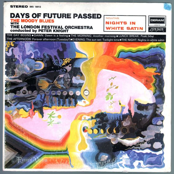 Music writers cite #Days of #Future #Passed as a precursor to #ProgressiveRock music. It is the first concept album by The #MoodyBlues, a song cycle about a typical working day. The singles #NightsInWhiteSatin and #TuesdayAfternoon were Top 40 hits in the US. What surprises first-time listeners is the degree to which the group shares the spotlight with the London Festival Orchestra without compromising their sound or getting lost in the lush mix of sounds. #DaysOfFuturePassed #Vinyl #LP