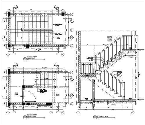 gambar tampak atas dan samping tangga orthographic