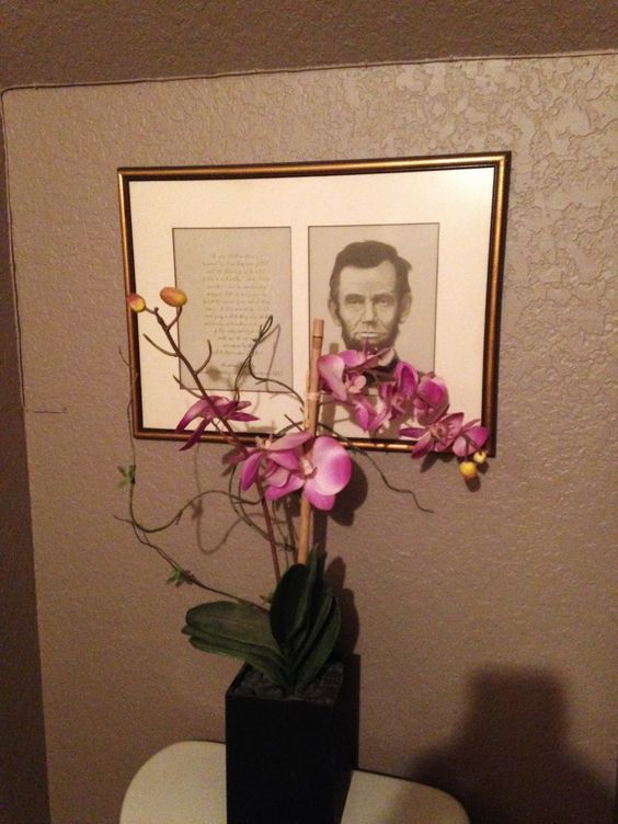 Ab Lincoln decor for the guest bathroom!