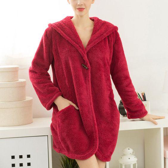 Large Size Women Long Sleeves Hooded Soft Comfy Wine Homewear Robe Sleepwear at Banggood