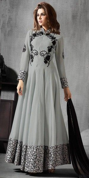 Anarkali Style Grey With Lace Work Incredible Salwar Kameez.