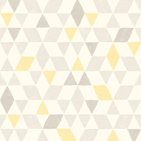 Colours Soft Lemon Geometric Wallpaper | Departments | DIY at B&Q