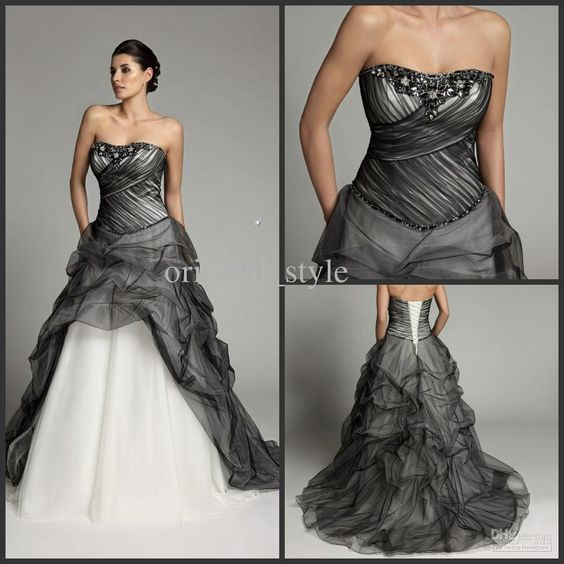 Christmas Strapless Black White Color Accented Bridal Gowns Pleat ...