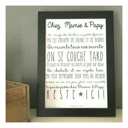 affiche chez mamie et papy encadrer affiche affiches illustr es et parents. Black Bedroom Furniture Sets. Home Design Ideas