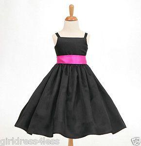Black Free Shipping Spaghetti Straps Flower Girl Dress 12M 2 2T 4 4T 5 6 8 10 12   eBay