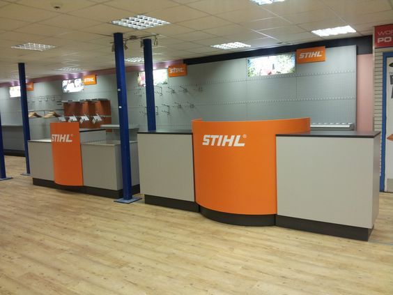 Sales and service counter in a (very) empty showroom during last years refit.