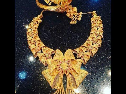 اجمل طقم الذهب لسنة 2018 رووووووعة Bridal Gold Jewellery Gold Jewelry Fashion Gold Necklace Designs