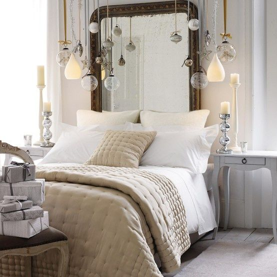 Baubles over the bed. Love it! Just don't sit up too quick...