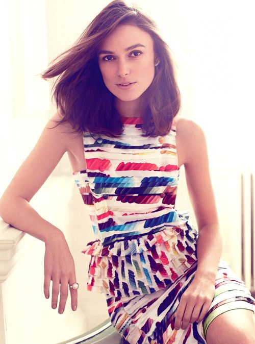Keira Knightley by Alexi Lubomirski. I really like the pinafore-esque panel and I love cut-in shoulders.: