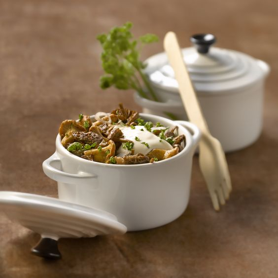 Champignons échalotes et crème persil